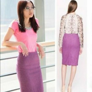 J. CREW Wool Herringbone No. 2 Purple Pencil Skirt